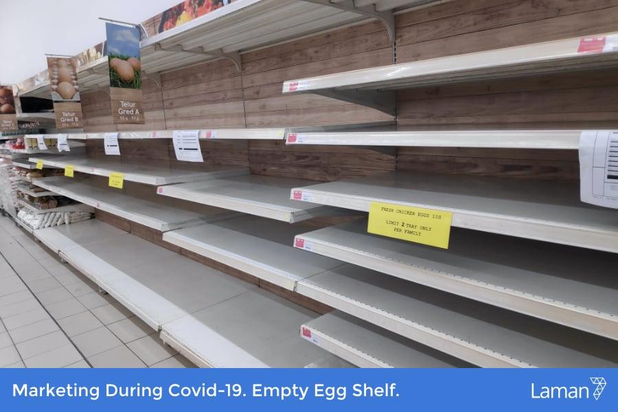 Marketing During Covid-19. Empty Egg Shelf