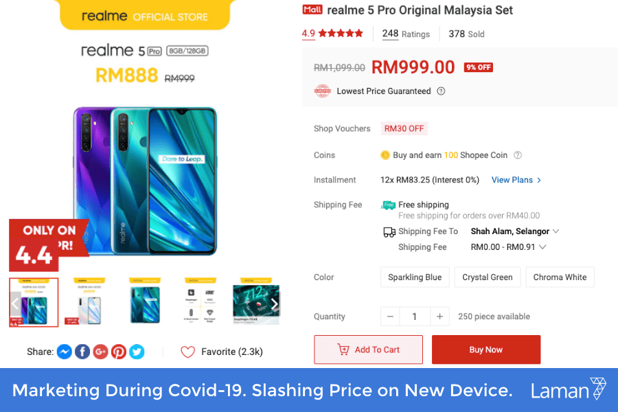 Marketing During Covid-19. Slashing Price on New Device.