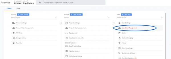Share Google Analytics - Select View User Management