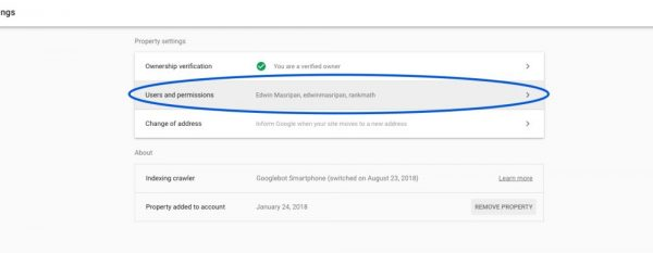 Share Google Search Console - choose user permission