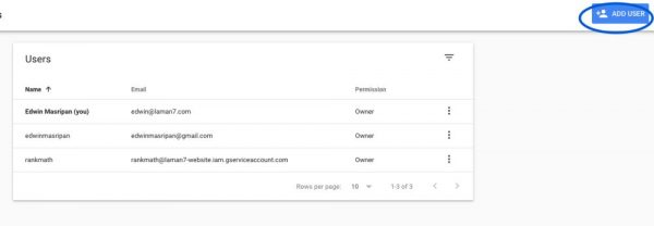 Share Google Search Console - Click add users